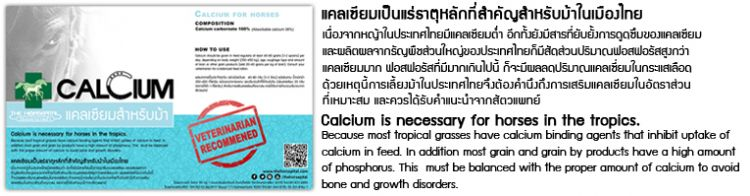 Calcium is necessary for horses in the tropics.